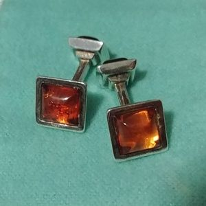 Sterling Silver Amber Stones Cufflinks